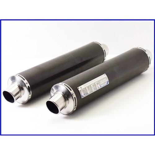 【M3】良品♪OVER カーボンサイレンサー 左右set♪60.5mm♪ZZR1100/1200/1400/CB1300SF/X4/VTR1000F/XJR/V-MAX/GSX1300R♪