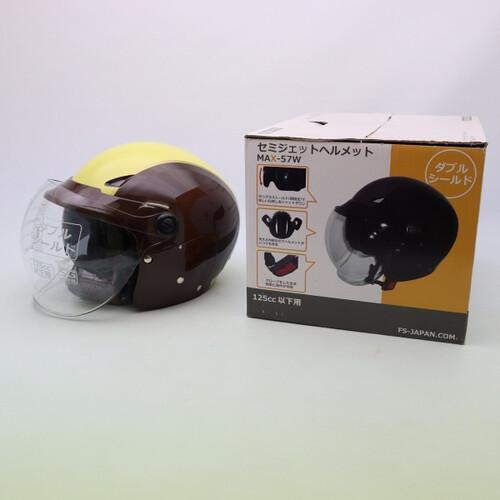 未使用品★石野商会 MAX-57W セミジェットヘルメット フリーサイズ ブラウン/アイボリーカラー200402UD0002