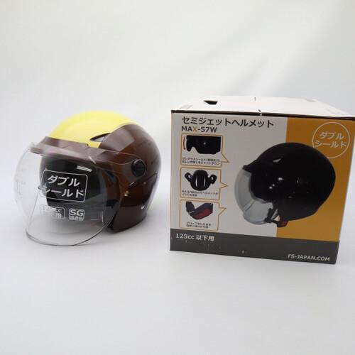 未使用品★石野商会 MAX-57W セミジェットヘルメット フリーサイズ ブラウン/アイボリーカラー 200402UD0011