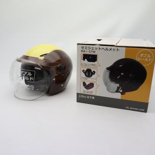 未使用品★石野商会 MAX-57W セミジェットヘルメット フリーサイズ ブラウン/アイボリーカラー 200402UD0012